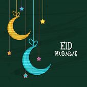 image of crescent  - Elegant greeting card design decorated with shiny hanging crescent moons and stars on green background for Muslim community festival - JPG