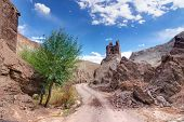 picture of gautama buddha  - Ruins and Basgo Monastery surrounded with stones and rocks a single tree standing Leh Ladakh India - JPG