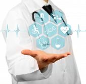 stock photo of medical  - Medical doctor working with healthcare icons - JPG