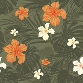 pic of camouflage  - Summer camouflage hawaiian seamless pattern with tropical plants and hibiscus flowers - JPG