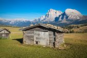 stock photo of south tyrol  - Seiser Alm and Rosengarten in South Tyrol - JPG