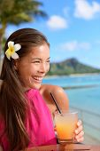 image of waikiki  - Beach bar party drinking friends toasting Hawaiian sunset cocktails having fun - JPG