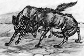 image of hyenas  - graphic animal illustration hyenas in savanna black and white - JPG