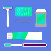 picture of personal care  - Flat set of Items for personal care - JPG