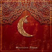 foto of crescent  - shiny filigree decorative crescent moon and stars over dark grunge background for holy month of muslim community Ramadan Kareem - JPG