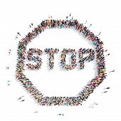 image of octagon shape  - A large group of people in the shape of a stop sign - JPG