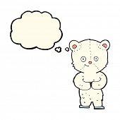 foto of bear cub  - cartoon teddy polar bear cub with thought bubble - JPG