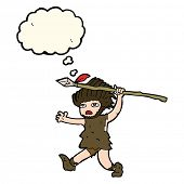 pic of caveman  - cartoon caveman with thought bubble - JPG