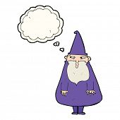 stock photo of wizard  - cartoon wizard with thought bubble - JPG