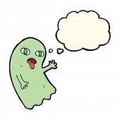 pic of funny ghost  - funny cartoon ghost with thought bubble - JPG