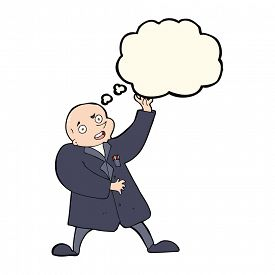 pic of mad scientist  - cartoon mad scientist with thought bubble - JPG