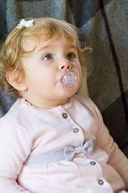 stock photo of nipples  - Image of cute baby girl suckle nipple - JPG