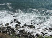 Morro Rock Area near Malibu California showing beautiful ocean waves