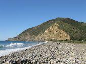 Morro Rock Area near Malibu, California showing beautiful ocean waves