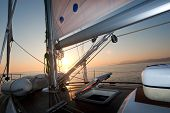Sailing Boat Deck At Sunset