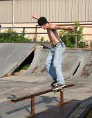 Skateboarder Rail Sliding