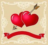 Dois corações vermelho trespassado juntos pela seta do Cupido. Banner para adicionar texto. VECTOR