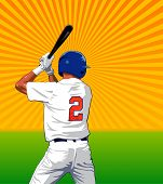 Baseball batter with bat over a field and sunburst - Vector