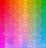 Puzzle pieces in gradual changing colors