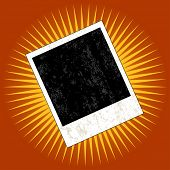Grunge instant photo blank over a star burst - VECTOR