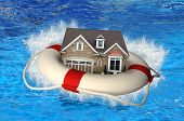 stock photo of house representatives  - House market crisis represented by house and life preserver crashing on water - JPG