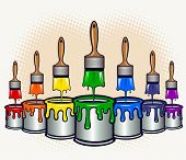 Cans of paint with brushes dripping down paints - VECTOR