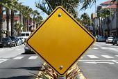 Blank Yellow Street Sign