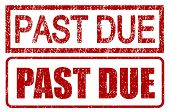 Past due stamps with grunge style isolated over white