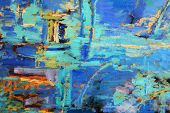 Abstract oil painting with predominant blues