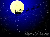 Santa claus in sleigh as christmas card