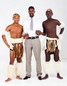 modern african businessman and traditional tribesman