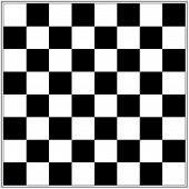 picture of draught-board  - Illustration of a black and white chess board with 64 squares and a metallic look border - JPG
