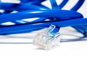 Isolated blue ethernet cable