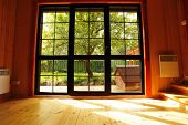 Big window showcase wooden interior