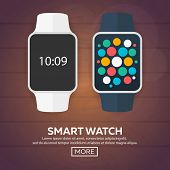 Smart Watch Isolated On White. Stainless Silver  . Vector   With  App.    Reflected   Surface.  Icon poster