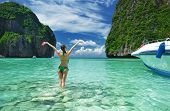 Woman in beautiful lagoon at  Phi Phi Ley island, the exact place where