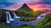 Majestic evening with Kirkjufell volcano the coast of Snaefellsnes peninsula. Dramatic and picturesq poster