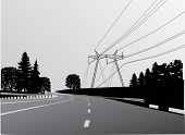 illustration with electric line in forest near road