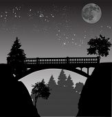 illustration with bridge above precipice at night