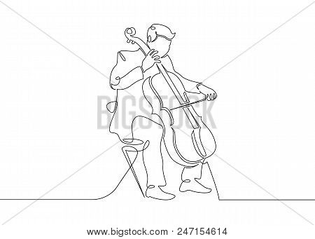 poster of A Continuous Single Drawn Single Line Of A Musician Is Played By A Cellist Man. Classical Music, Con