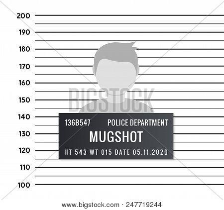 poster of Police Mugshot Criminal Template. Vector Silhouette Lineup Criminal Arrest Portrait Mugshot.
