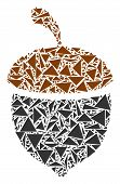 Oak Acorn Collage Of Triangle Items In Variable Sizes And Shapes. Vector Triangles Are United Into O poster