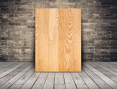 Blank Plank Wood Board At Grunge Brick Wall And Wood Plank Floor,mock Up Template For Adding Your Co poster