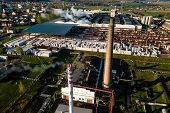 Aerial View Of Modern Large Industrial Factory With Smokestack, Industrial Area. Concept Of Air Poll poster