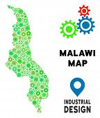 Gear Malawi Map Mosaic Of Small Cogwheels. Abstract Territory Plan In Green Color Tinges. Vector Mal poster