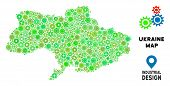 Gear Ukraine Map Composition Of Small Cogwheels. Abstract Territory Scheme In Green Color Tinges. Ve poster