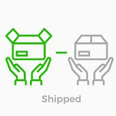 Order Delivery And Logistics Line Icon For Online Shop Web Design. Vector Symbol Of Order Box And Ha poster