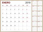Spanish Planning Calendar 2019, Spanish Calendar Template For Year 2019, Set Of 12 Months, Week Star poster