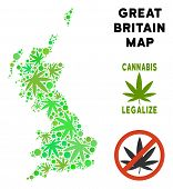 Royalty Free Cannabis Great Britain Map Collage Of Weed Leaves. Template For Narcotic Addiction Camp poster