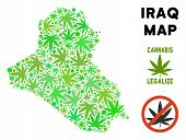 Royalty Free Cannabis Iraq Map Composition Of Weed Leaves. Template For Narcotic Addiction Campaign  poster